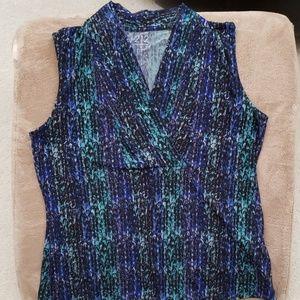 Blue/turquoise/black v-neck short sleeve top